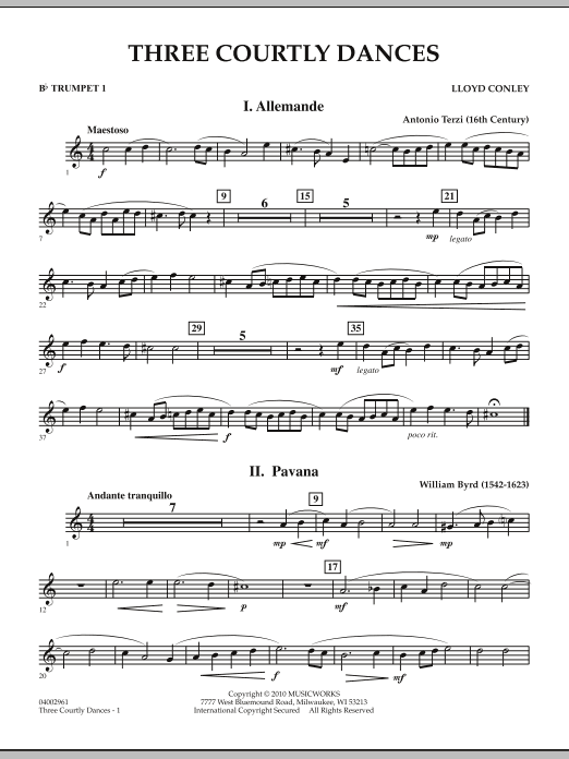 Three Courtly Dances - Bb Trumpet 1 (Concert Band)