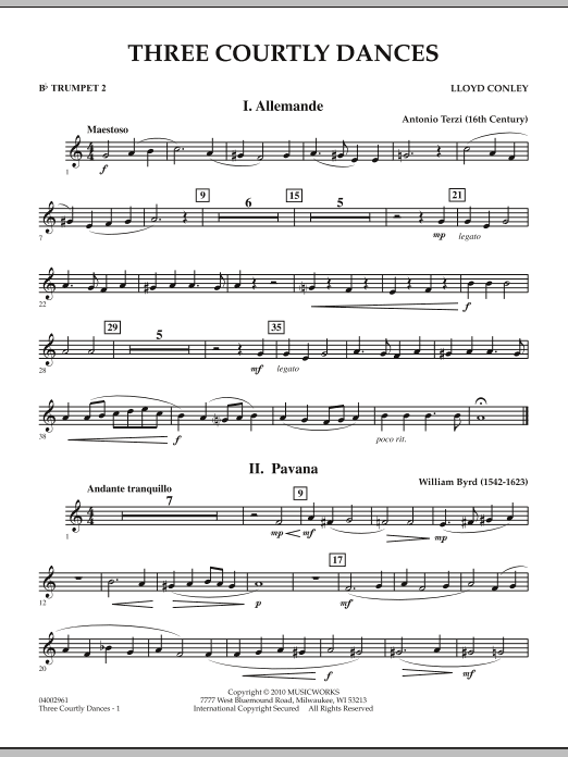 Three Courtly Dances - Bb Trumpet 2 (Concert Band)