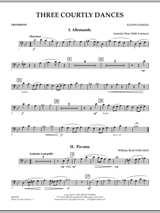 Three Courtly Dances - Trombone (Concert Band)