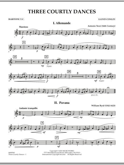Three Courtly Dances - Baritone T.C. (Concert Band)