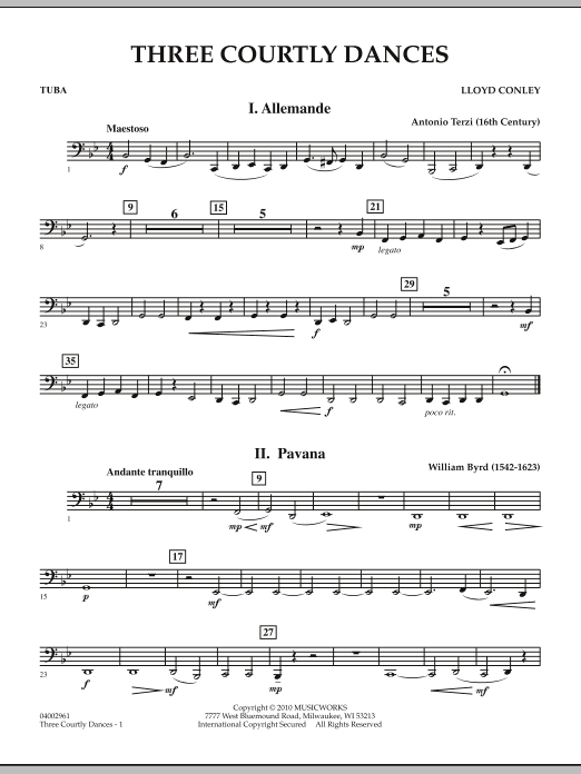 Three Courtly Dances - Tuba (Concert Band)
