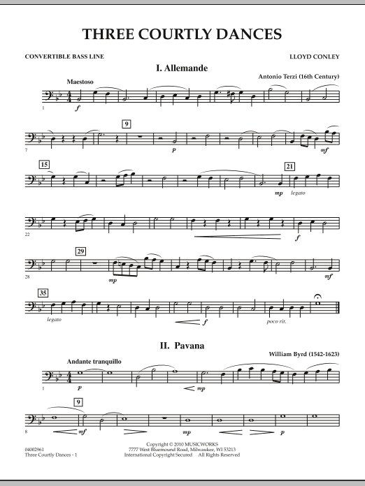 Three Courtly Dances - Convertible Bass Line (Concert Band)