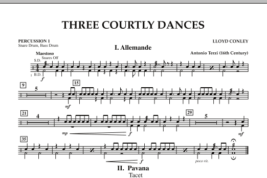 Three Courtly Dances - Percussion 1 (Concert Band)