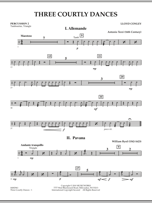 Three Courtly Dances - Percussion 2 (Concert Band)