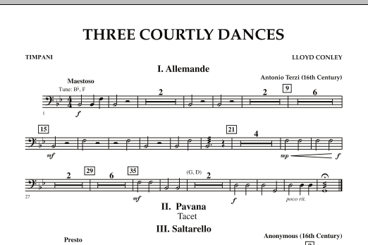 Three Courtly Dances - Timpani (Concert Band)