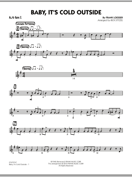 Baby It S Cold Outside Alto Sax 2 Sheet Music To Download