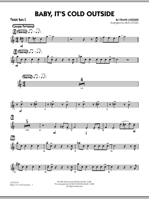 Baby, It's Cold Outside - Tenor Sax 2 (Jazz Ensemble)