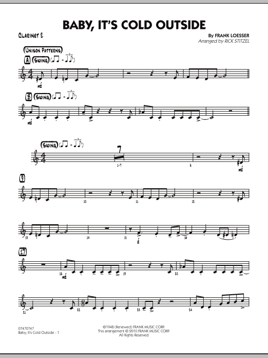 Baby, It's Cold Outside - Bb Clarinet 2 (Jazz Ensemble)