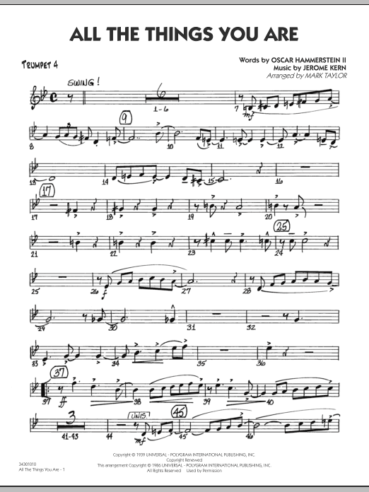 All The Things You Are - Trumpet 4 (Jazz Ensemble)