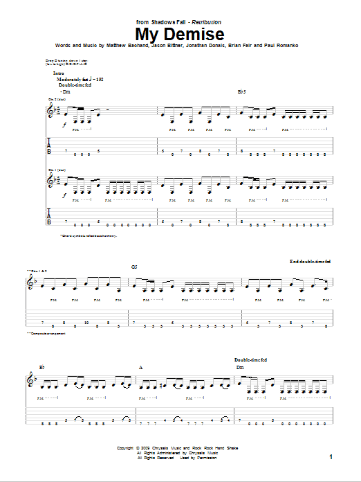 Tablature guitare My Demise de Shadows Fall - Tablature Guitare