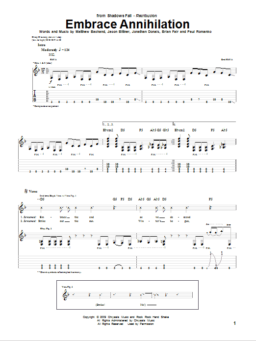 Embrace Annihilation Sheet Music