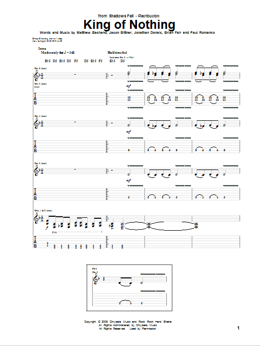 Tablature guitare King Of Nothing de Shadows Fall - Tablature Guitare