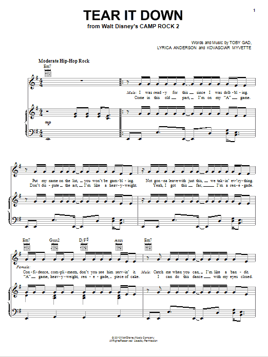 Tear It Down (Piano, Vocal & Guitar (Right-Hand Melody))