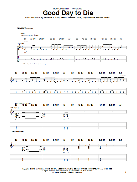 Tablature guitare Good Day To Die de Godsmack - Tablature Guitare
