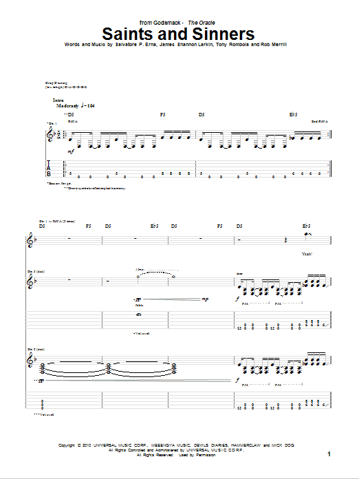 Tablature guitare Saints And Sinners de Godsmack - Tablature Guitare