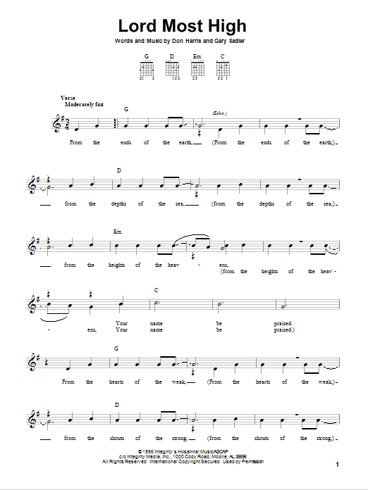 Lord Most High (Easy Guitar)