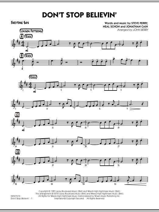 Don't Stop Believin' - Baritone Sax (Jazz Ensemble)