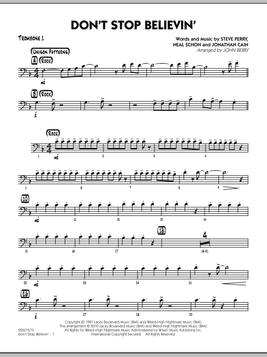 Don't Stop Believin' - Trombone 1 (Jazz Ensemble)
