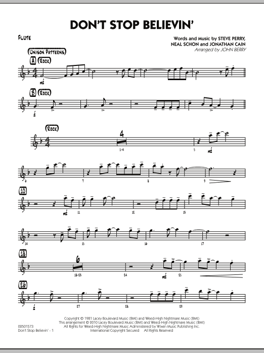 Don't Stop Believin' - Flute (Jazz Ensemble)