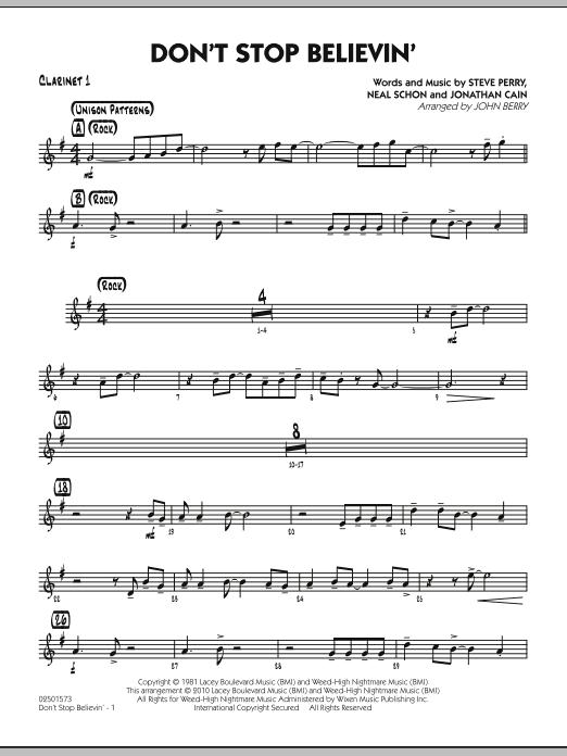Don't Stop Believin' - Bb Clarinet 1 (Jazz Ensemble)