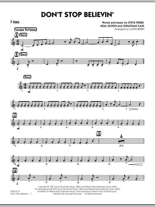 Don't Stop Believin' - F Horn (Jazz Ensemble)