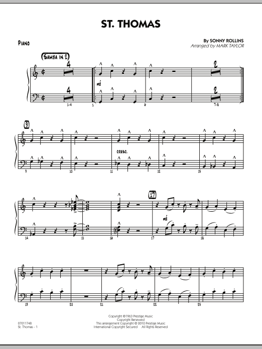 St. Thomas - Piano (Jazz Ensemble)