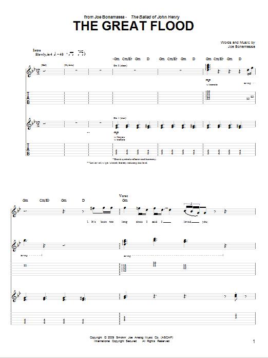 Tablature guitare The Great Flood de Joe Bonamassa - Tablature Guitare