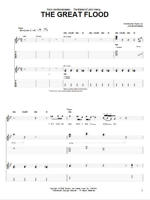 The Great Flood (Guitar Tab)