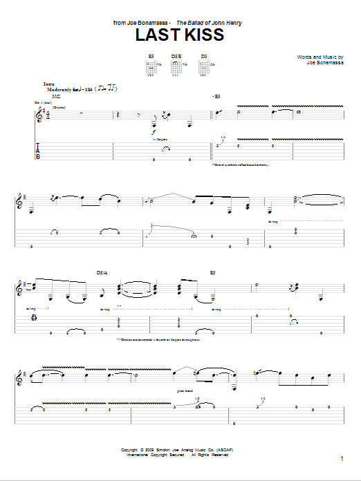 Tablature guitare Last Kiss de Joe Bonamassa - Tablature Guitare