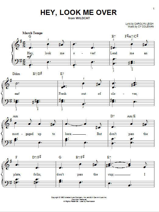 Hey, Look Me Over Sheet Music