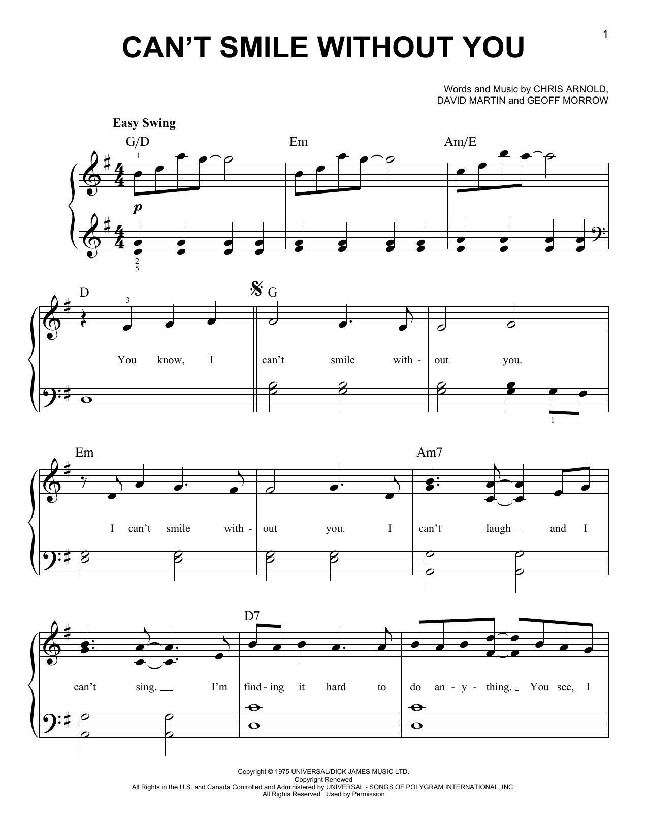 Can't Smile Without You Sheet Music