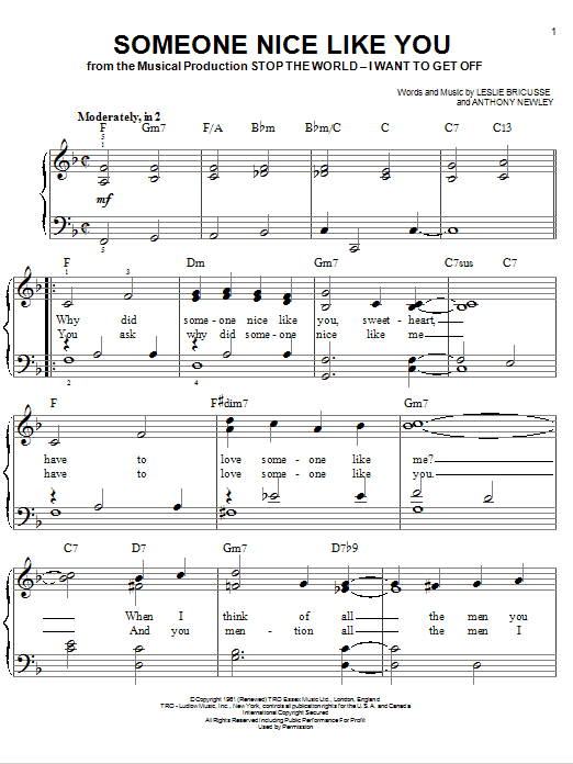 Someone Nice Like You Sheet Music