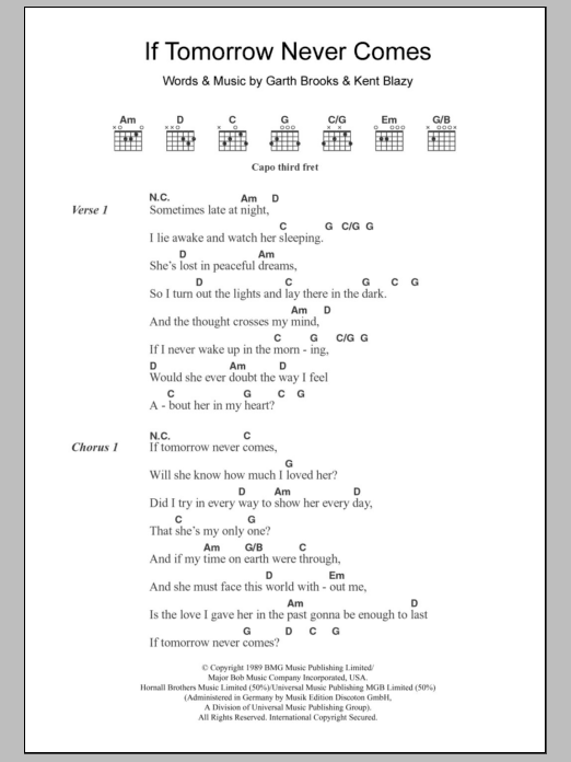 If Tomorrow Never Comes by Ronan Keating - Guitar Chords/Lyrics ...