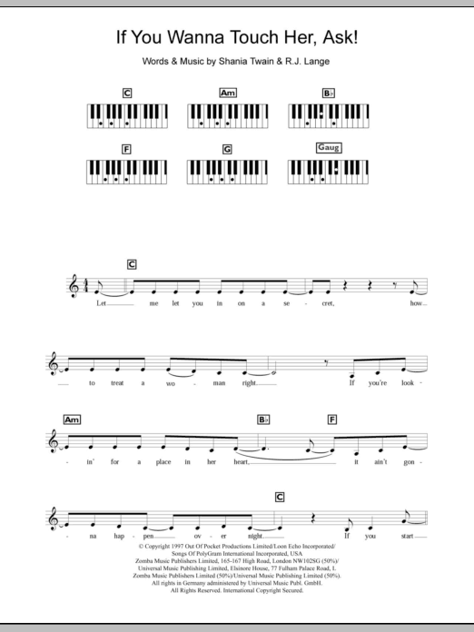 If You Wanna Touch Her, Ask! (Piano Chords/Lyrics)