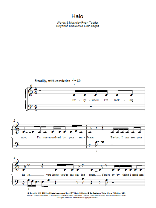 Halo Sheet Music Beyonc 5 Finger Piano