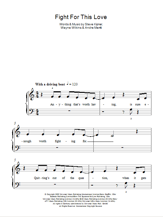 Fight For This Love Sheet Music