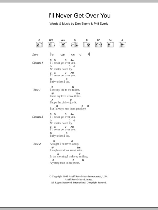 I\'ll Never Get Over You by Everly Brothers - Guitar Chords/Lyrics ...