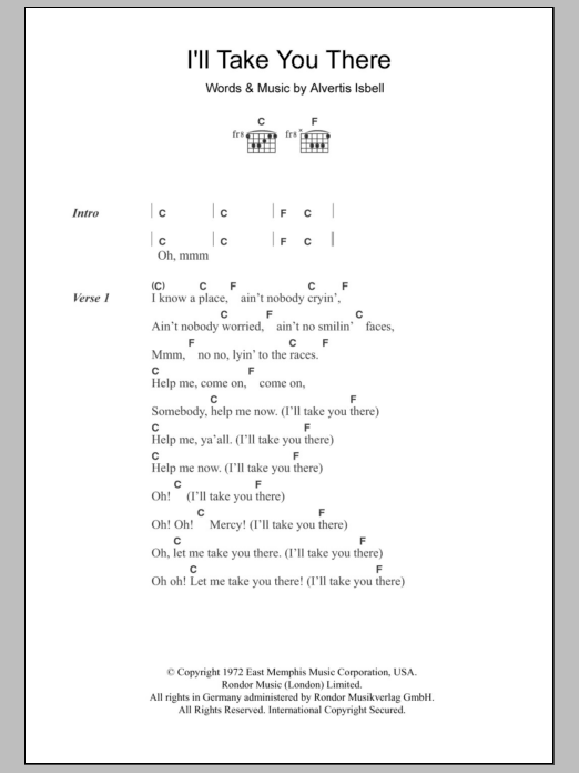 I\'ll Take You There by The Staple Singers - Guitar Chords/Lyrics ...
