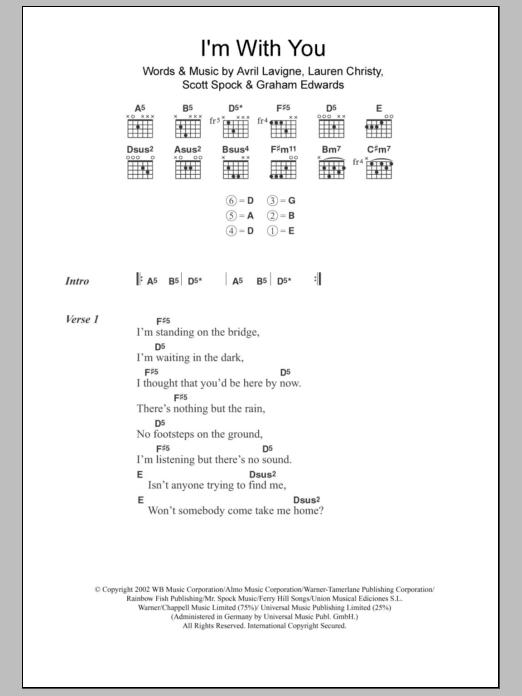I\'m With You Sheet Music | Avril Lavigne | Lyrics & Chords