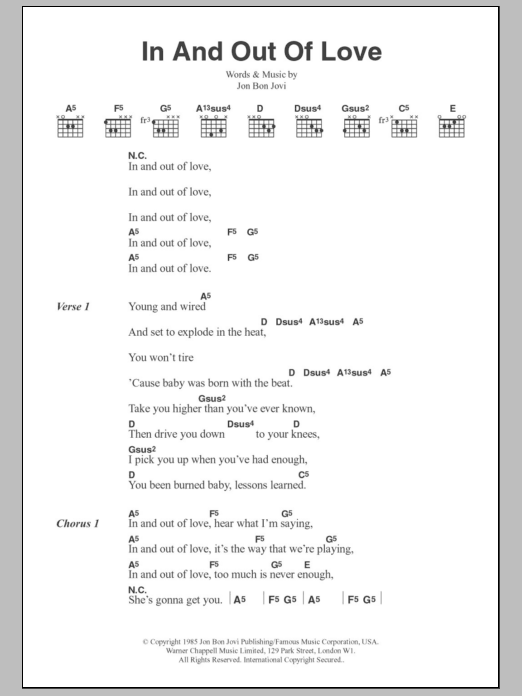 In And Out Of Love Sheet Music Bon Jovi Lyrics Chords