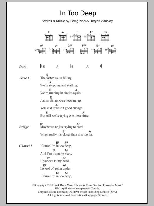 In Too Deep Sheet Music