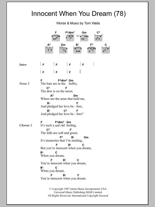 Innocent When You Dream 78 By Tom Waits Guitar Chordslyrics