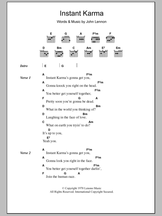 Instant Karma by John Lennon - Guitar Chords/Lyrics - Guitar Instructor