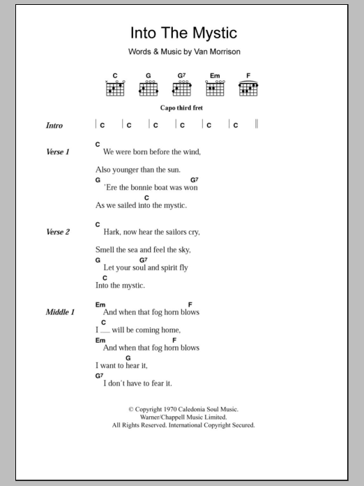 Into The Mystic by Van Morrison - Guitar Chords/Lyrics - Guitar ...