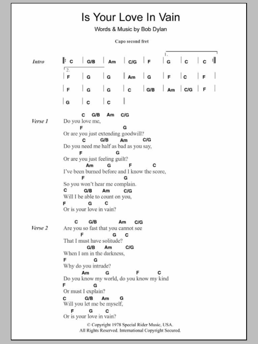 Guitar guitar chords your love : Is Your Love In Vain by Bob Dylan - Guitar Chords/Lyrics - Guitar ...