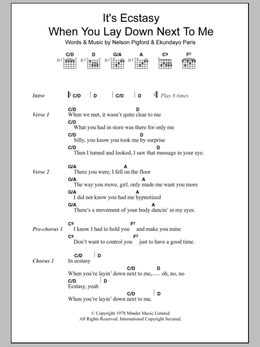 It's Ecstasy When You Lay Down Next To Me by Barry White Guitar  Chords/Lyrics Digital Sheet Music