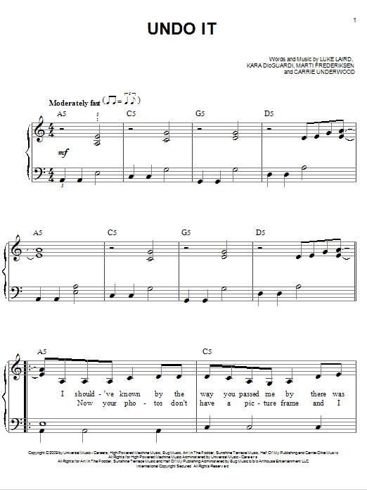 Undo It (Easy Piano)