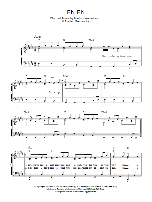 Eh, Eh (Nothing Else I Can Say) Sheet Music