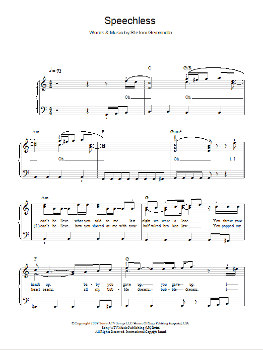 Speechless sheet music by Lady Gaga (Easy Piano – 103379)