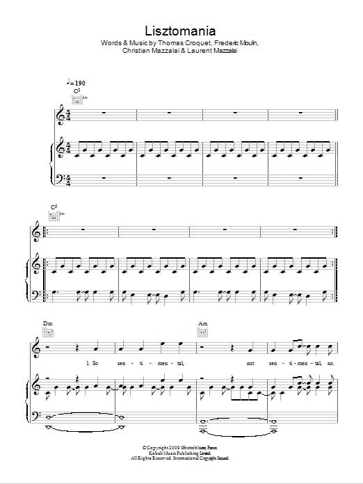 Lisztomania Sheet Music | Phoenix | Piano, Vocal & Guitar (Right ...